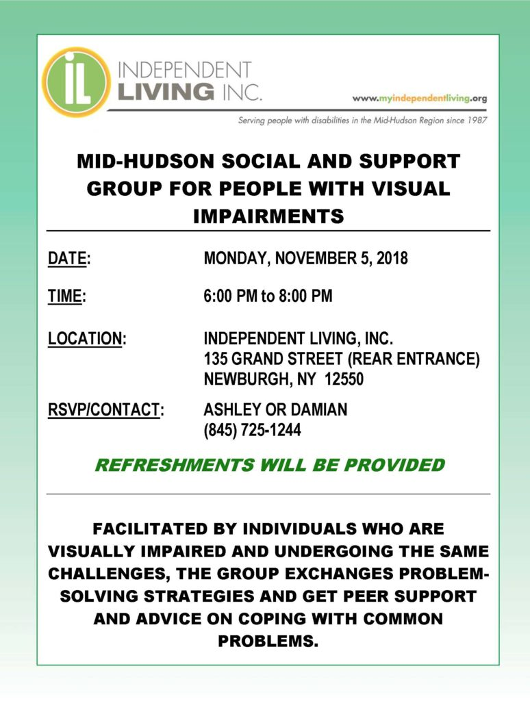 Visual Impairment Social and Support Group @ Onward Recovery Community and Outreach Center
